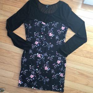 Floral / Mesh Sleeved Dress